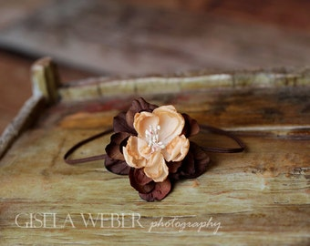 Baby Headband, Newborn Headband, Photo Prop, Newborn Photo Prop, Brown Baby Headband, Peach Baby Headband, Brown Newborn Headband