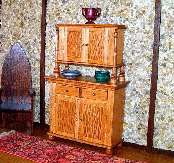Court Cupboard, Tudor, Mahogany Finish, Dollhouse Miniature 1/12 Scale, Hand Made in the USA