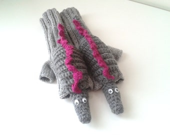 CAMPAİGN // Original Design Cute Godzilla  gloves,long fingerless gloves, costume,  Valentine day, boy, girl