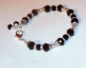 Special Order-Black Crystal  Bracelet - Stretch Bracelet with Lobster Claw