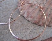 """Rose Gold Plated Hammered Hoop Earrings Textured 1/1/4"""""""