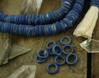Blue Dutch Donut Dogan Beads from Mali, Africa, Annular Wound Glass Beads, 10 Beads, Antique Tribal 11-12mm, Nautical Beads Making Jewelry