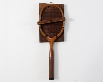 1920s W & D Criterion tennis racquet with primitive wall mount
