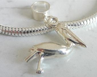 PELICAN BIRD Sterling Silver WILDLIFE Charm Fits All Slide On Bracelets