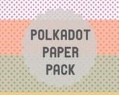 Polka dot paper 5 pack // Printable cute scrapbooking crafts fun decorations origami