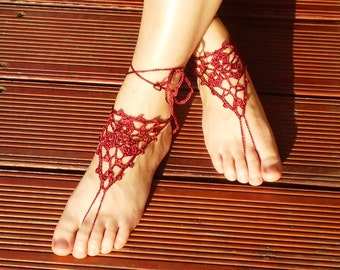 Crochet Maroon Barefoot Sandals, Nude shoes, Foot jewelry, Wedding, Victorian Lace, Sexy, Yoga, Anklet , Bellydance, Steampunk, Beach Pool