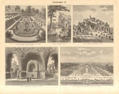 1895 Gardening, History of Gardening, Famous European Gardens Original Antique Engraving