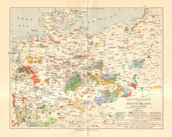 1908 Original Antique Industrial Map of Germany