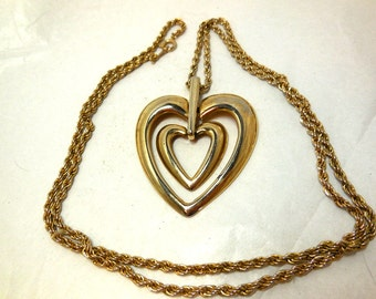 Double HEART Pendant Necklace Vintage silver Gold Chain 30 inch Retro Modern Valentine Love Mom