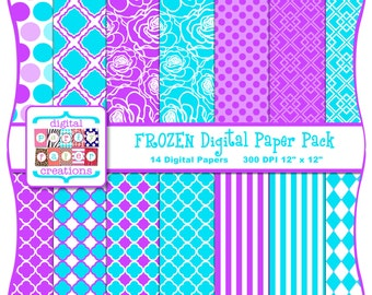 Frozen Digital Paper Pack - Purple Turquoise Quatrefoil, Dots, Stripes, Floral Digital Papers INSTANT DOWNLOAD