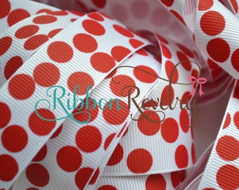 "Red silly dots on White 7/8"" grosgrain ribbon"