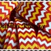 "Yellow, white & red chevron striped on white 7/8"" grosgrain ribbon - Sports line"