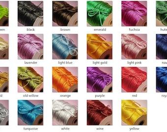 2MM Satin Rattail Cord Trim Shamballa Macrame Beading Nylon kumihimo Jewelry String