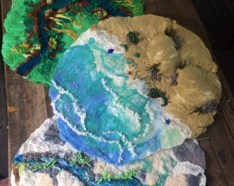 Custom Set of Extra Large hand felted Four Seasons play story nature mats