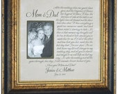 Wedding Thank You Sign Frame, Mom Dad Mother of the Bride, Custom Wedding Gifts Bridal Shower, Personalized Picture Frames, 16 X 16