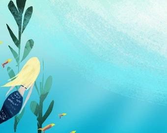 Mermaid Art Print | Children's Art | Undersea Mermaid Painting | Jennifer Shear | 5x7 | 8x10 | 11x14