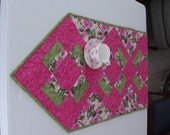 Rosey World Quilted floral table runner, - ready to ship