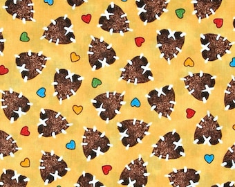 Nursery Cotton Fabric - Popcorn The Bear by Bright Star Characters - Hearts - 3 yards