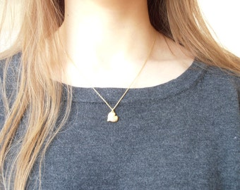 Golden Fluffy Heart - handmade sterling silver necklace