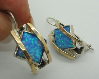 Amazing Sterling Silver 925 & 9k yellow gold  blue opal Earrings (s e1600)
