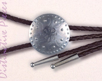 Tooled Steel Brown Bolo Tie - Men's Bolo, Women's Slide Necklace, Hand Punched Metal, Southwestern Style, New Mexican Tinwork, BR0038036-5Br
