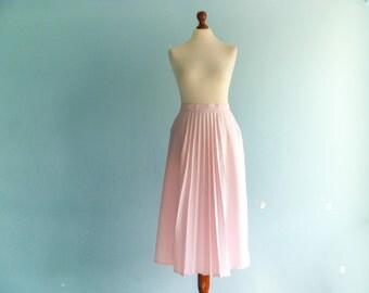 Vintage pink skirt pleated / high waisted / a line / preppy retro / midi long / medium