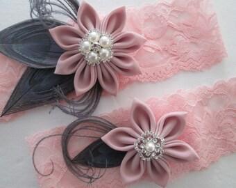 Blush Wedding Garter Set, Blush Lace Garter, Silver Peacock Garter, Blush Pink & Gray Garter, Rustic Garters, Kanzashi Flower, Burlap Lace