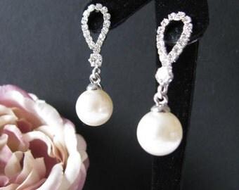 Silver toned Rhinestone Earring Drops Bride Wedding Glamour Look Bridal wedding Jewelry