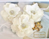 Ivory Hair Flowers, Bridal Hair Accessories, Bridal Hair Flowers, Rhinestone Floral Hair Clips, Feather Flowers, Ivory Flower Hairclips