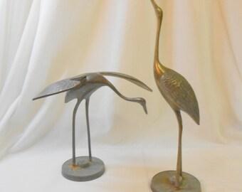 Vintage Mid-century brass cranes sculptural brass birds zen minimalist peaceful feng shui spiritual