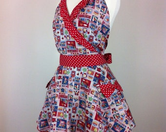 Retro apron crossed with flared skirt, Multi coloured on a white fabric. 1950s inspired, fully lined.
