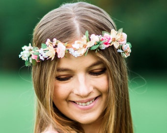 Bridal Flower Crown Hair Wreath champagne peach coral halo Engagement photo shoot Accessories prom flowers Woodland garland music festivals