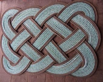Nautical Doormat 30 x 20 Rope Rug Green With Natural Accents Nautical Decor Door mat