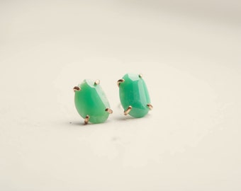 Chrysoprase Rose Cut Earrings 14k Gold Fill