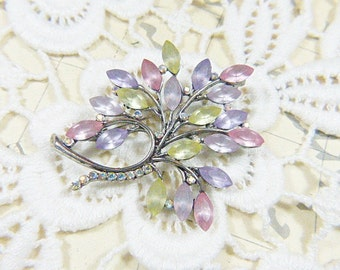 Vintage Frosted and Silver Brooch With Aurora Borealis Rhinestones - BR-515 - Rhinestone Brooch - AB Brooch