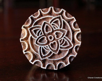 ON SALE Hand Carved Indian Wood Textile Stamp Block- Stylized Steampunk Gear