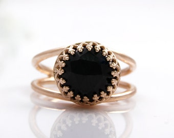 Black onyx ring,rose gold ring,pink gold ring,everyday ring,black diamond ring,faceted gemstone ring