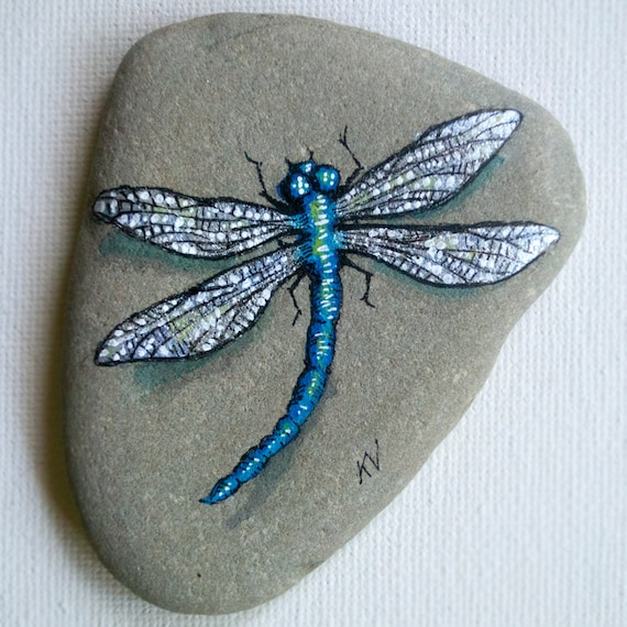 Dragonfly Hand Painted Rock Paper Weight