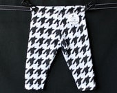 SALE Black and White Houndstooth, Geometric, Aztec, Unisex, Baby Girl, Baby Boy Knit Leggings Pants