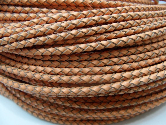 Leather Cord Braided 3mm Braided Genuine Light Brown String Jewelry Making - 3591 - Wholesale Leather Cord