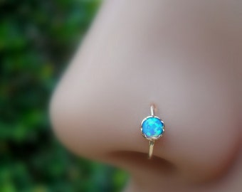 Nose Ring Hoop - Tragus Earring - Cartilage Piercing - Helix Earring - 14K Rose Gold Filled 3mm Blue Opal 7mm Inner Diameter Hoop