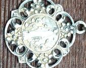"Notre Dame of Lourdes Art Nouveau Antique Silver Religious Medal on 18"" sterling silver rolo chain"