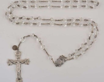 "Vintage Cut Crystal 24-1/4"" Sterling Silver ROSARY Beads Religious Jewelry"