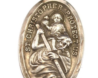 Saint Christopher Vintage Sterling Silver Religious Medal on 18 inch sterling silver rolo chain