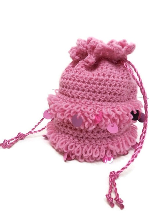 Lined Rose Pink Spangled Crochet Drawstring Bag