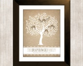 Family Tree Wall Art, DIY Digital File, Personalized Gift For Mom and Dad, Custom Gift for Grandparents, Burlap and Lace
