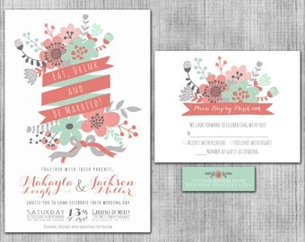 Mint Green Wedding Invitations, Eat, Drink and Be Married Coral Pink Invite Suite with RSVP Cards