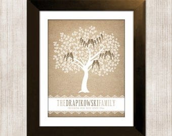 Family Tree Wall Art, Personalized Gift For Mom and Dad, Custom Gift for Grandparents, Burlap and Lace, Mothers Day Gifts