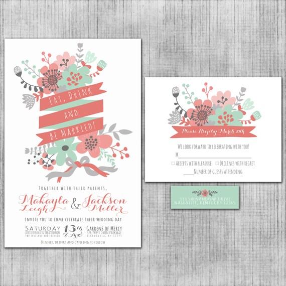 Popular wedding invitation blog Wedding invitations pink and green
