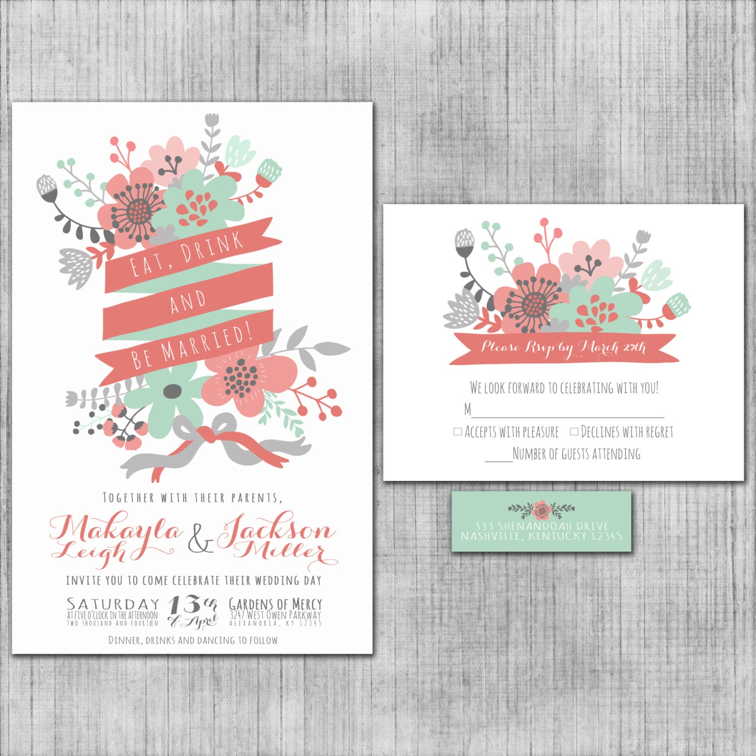 Mint Invitations Wedding: Mint Green Wedding Invitations Eat Drink And Be Married
